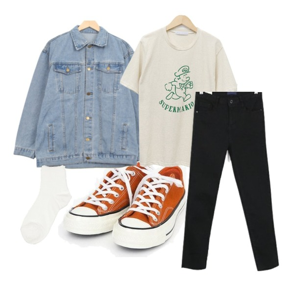 AIN coloring canvas sneakers (225-250),From Beginning Mascot warm T_S (size : free),BULLANG GIRL 또륵단추청JK등을 매치한 코디