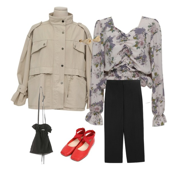 openthedoor wearable wide slacks (2 color) - men,From Beginning Snap strap safari jacket_M (size : free),From Beginning Shirring crop floral blouse_S (size : free)등을 매치한 코디