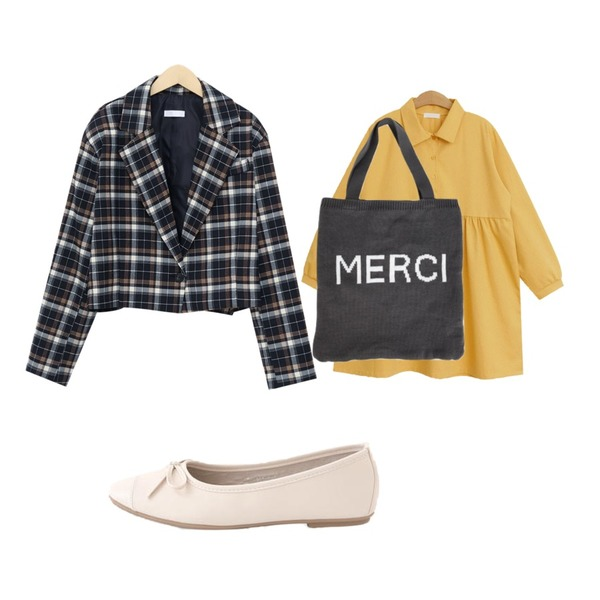 LOVELY SHOES 셀란츠 리본 플랫슈즈 1cm,TODAY ME 캐치미 원피스,From Beginning Check over crop jacket_K (size : free)등을 매치한 코디
