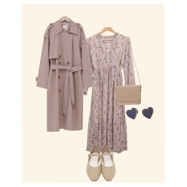 Mono,BULLANG GIRL 플로럴타이OPS,From Beginning Latte double trench coat_K (size : free)등을 매치한 코디