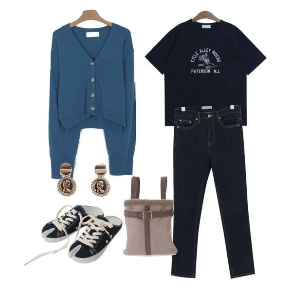 somedayif glam crop v-neck cardigan (3colors),From Beginning Deep color semi skinny_M (size : S,M),TODAY ME 패터슨 티셔츠등을 매치한 코디
