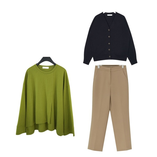 From Beginning Month crop straight slacks_M (size : S,M),AIN pint colorful v-neck wool cardigan,AFTERMONDAY unbalance slit cutting tee (4colors)등을 매치한 코디