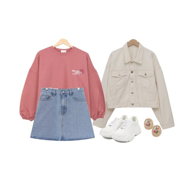 acomma 노잉 데님 - sk (2COLOR),BULLANG GIRL 브릴라이언트MTM,From Beginning Ray boxy denim jacket_S (size : free)등을 매치한 코디