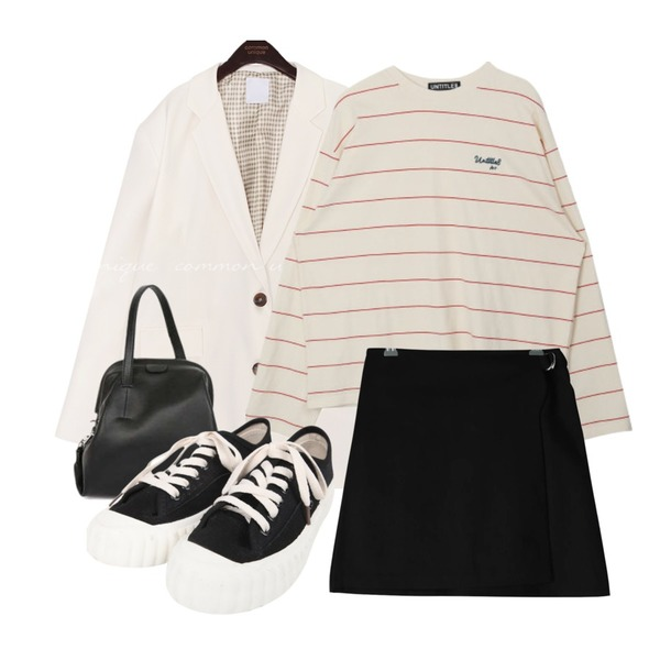 GIRLS RULE 실버 투링 랩st 스커트 (sk1726),common unique NEDER OVER FIT SINGLE JACKET,MIXXMIX Wide Stripe Point Top등을 매치한 코디
