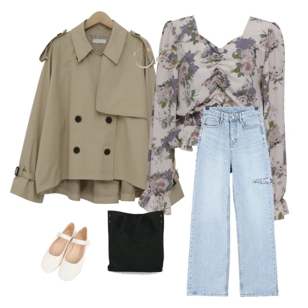 ROCOSIX 컷오프 데님 팬츠,From Beginning Shirring crop floral blouse_S (size : free),From Beginning Tom cotton half trench_S (size : free)등을 매치한 코디