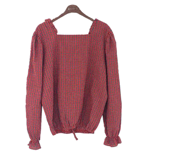 Square Merry Check Blouse