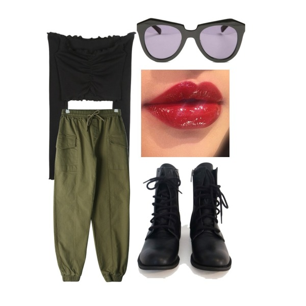 AFTERMONDAY walker ankle boots,openthedoor frill off shoulder crop T (4 color) - woman,GIRLS RULE 센 포켓 절개 조거 팬츠 (pt2011)등을 매치한 코디