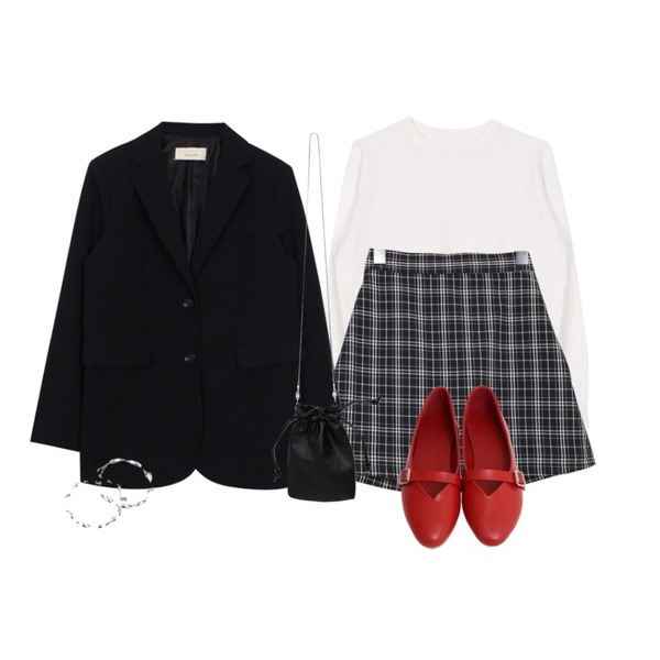 biznshoe Mannish jacket (2color),biznshoe Soft round knit (11colors),BULLANG GIRL 미들체크치마바지등을 매치한 코디