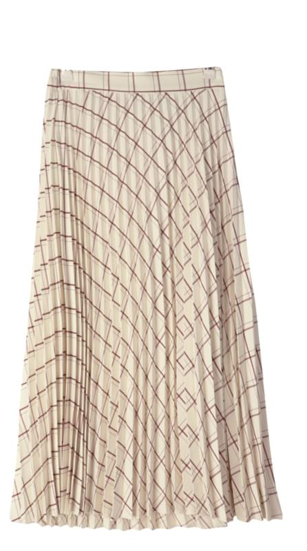 Waffle check long pleated skirt