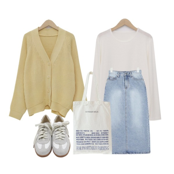 AIN little denim long skirt (s, m),From Beginning Span round-neck T_J (size : free),From Beginning Pastel cable balloon cardigan_M (size : free)등을 매치한 코디