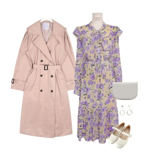 common unique [OPS] ONLY FLORAL CHIFFON TIE LONG OPS,AIN rose cape trench coat,From Beginning Half moon cross bag_J (size : one)등을 매치한 코디