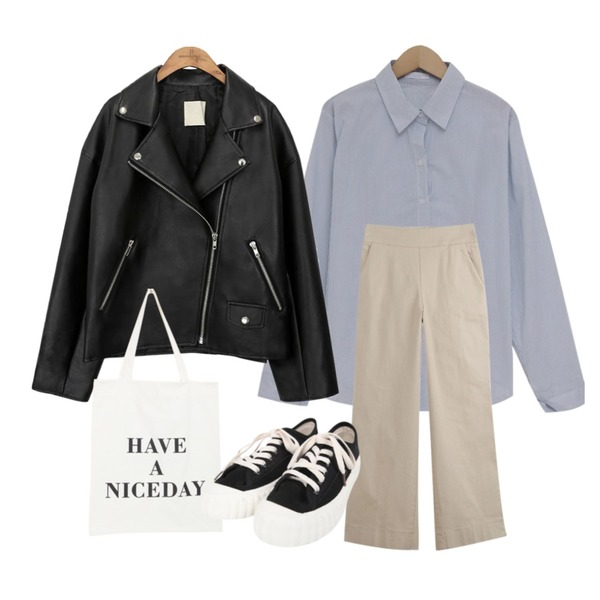 common unique [OUTER] BLACK PLAT RIDER JACKET,WHOSGIRL 예쁘게적당한 폭 통바지 (4 colors),From Beginning Pastel stripe basic shirts_S (size : free)등을 매치한 코디