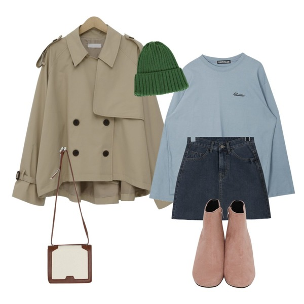 MIXXMIX Only Rose Top,daily monday Spring mini denim skirt,From Beginning Tom cotton half trench_S (size : free)등을 매치한 코디