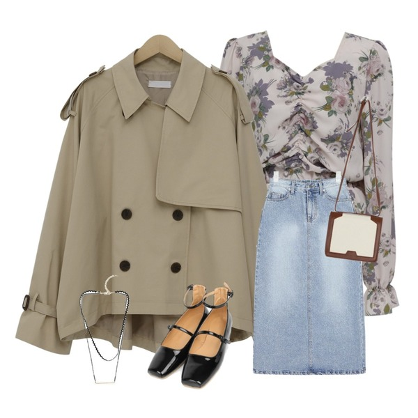 AIN little denim long skirt (s, m),From Beginning Shirring crop floral blouse_S (size : free),From Beginning Tom cotton half trench_S (size : free)등을 매치한 코디