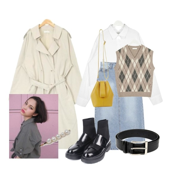 AIN keep daily mood trench coat,AIN cozy cotton crop shirts,AIN little denim long skirt (s, m)등을 매치한 코디