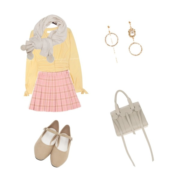 From Beginning Matilda suede mary janes_J (size : 230,235,240,245,250),openthedoor check mini tennis skirt (3 color) - woman,common unique BLONDE RIBBON SHIRRING LINE BLOUSE등을 매치한 코디