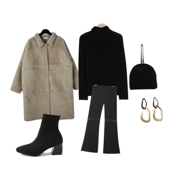 common unique [JEWELRY] OVAL WAVE GOLD EARRING,daily monday Gorgeous fur long coat,BULLANG GIRL 몽글이클러치백등을 매치한 코디