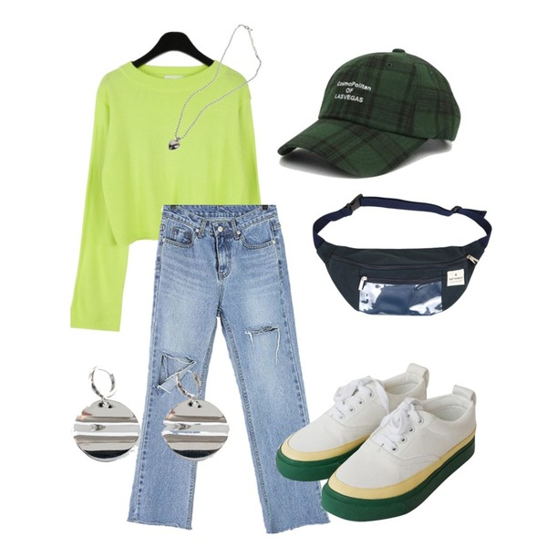 AFTERMONDAY comfortable cotton sneakers (2colors),daily monday Candy color crop knit,ROCOSIX 커런더 데님 팬츠등을 매치한 코디