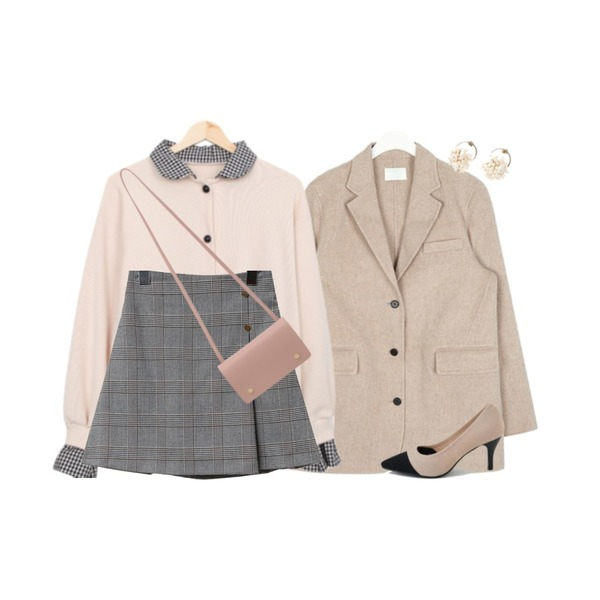 AIN two pocket handmade coat (wool90%),BULLANG GIRL 슈가체크가디건,common unique 2 TYPE GOLD BUTTON PANTS SKIRT등을 매치한 코디