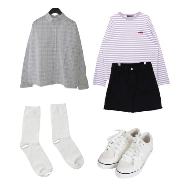 AFTERMONDAY line check pattern shirt (2colors),binary01 오트밀 어스 컷팅미니스커트,MIXXMIX Stripe Logo Point Top등을 매치한 코디