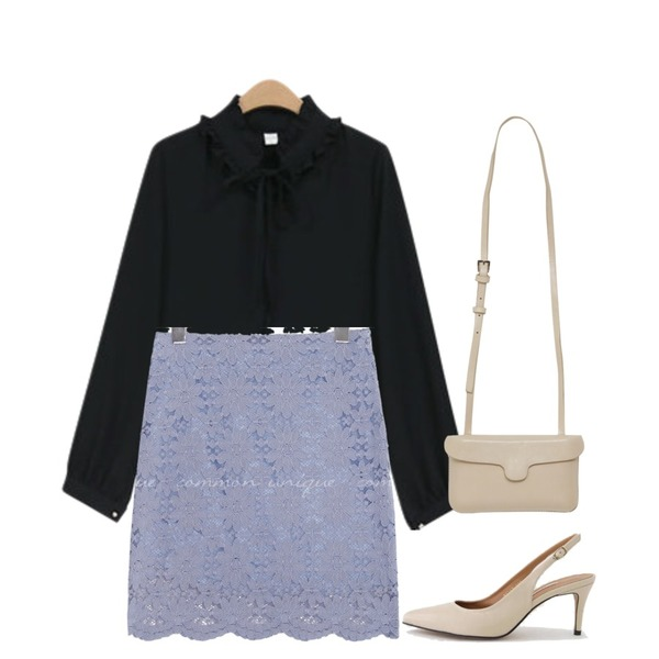 LOVELY SHOES [천연소가죽] 헤란츠 스틸레토 슬링백 힐 7cm,common unique [SKIRT] TAMY LACE H LINE MINI SKIRT,NEW NEED NOW 린다 넥프릴 블라우스(3color)등을 매치한 코디