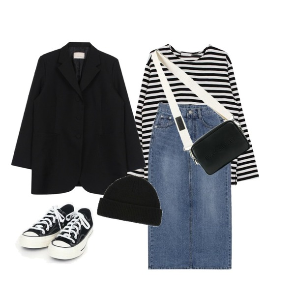 biznshoe Denim long skirt (2color),biznshoe Loose fit stripe knit (3color),biznshoe Over long jacket (2colors)등을 매치한 코디