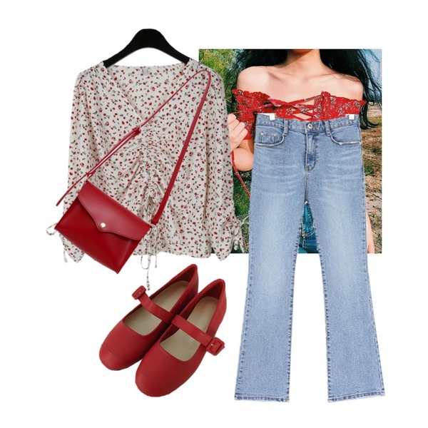 summer vibe,daily monday Strawberry string blouse,From Beginning Warp cover mini bag_K (size : one)등을 매치한 코디