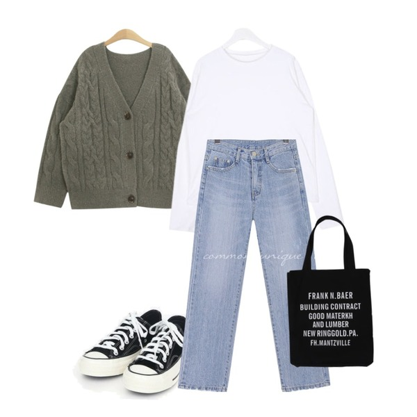 TODAY ME 케이트 가디건,AIN coloring canvas sneakers (225-250),AIN FRESH A warm basic T등을 매치한 코디