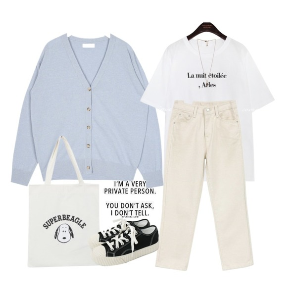 common unique ARLES LETTERING 1/2 T,AIN mark baby wool cardigan,NEW NEED NOW 어라운드 팬츠(2color)등을 매치한 코디