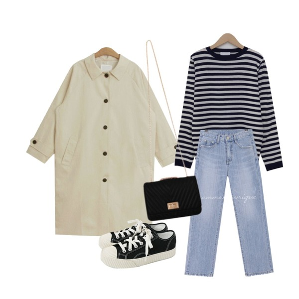 From Beginning Photo stripe round knit_Y (size : free),TODAY ME 피셔 트렌치 코트,common unique FORM STRAIGHT WIDE DENIM PANTS등을 매치한 코디