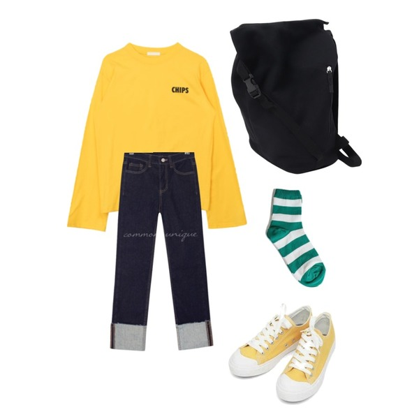 AIN basic monday sneakers (230-250),MIXXMIX 톡톡 라운드 긴팔티,common unique ATE STRAIGHT ROLL UP DENIM PANTS등을 매치한 코디