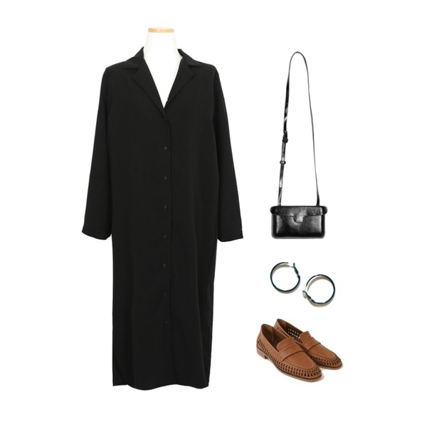 AFTERMONDAY punching point loafers (2colors),AWAB 싱글트랜카라원피스,AFTERMONDAY cool mood hoop earrings (2colors)등을 매치한 코디