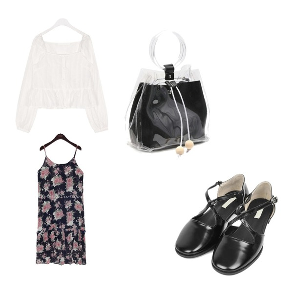AIN bell cross shoes (225-250),common unique [OPS] SERA FLOWER WRINKLE BUSTIER OPS,AIN away square stripe blouse등을 매치한 코디