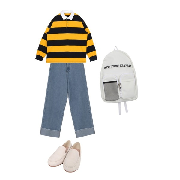 openthedoor stripe rugby collar T (3 color) - UNISEX,BULLANG GIRL 엔터민자단화,From Beginning Roll-up wide washing denim_S (size : S,M,L)등을 매치한 코디
