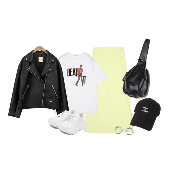 common unique [OUTER] BLACK PLAT RIDER JACKET,AIN heize long skirt,openthedoor BEAT IT 1/2 T (2 color) - woman등을 매치한 코디