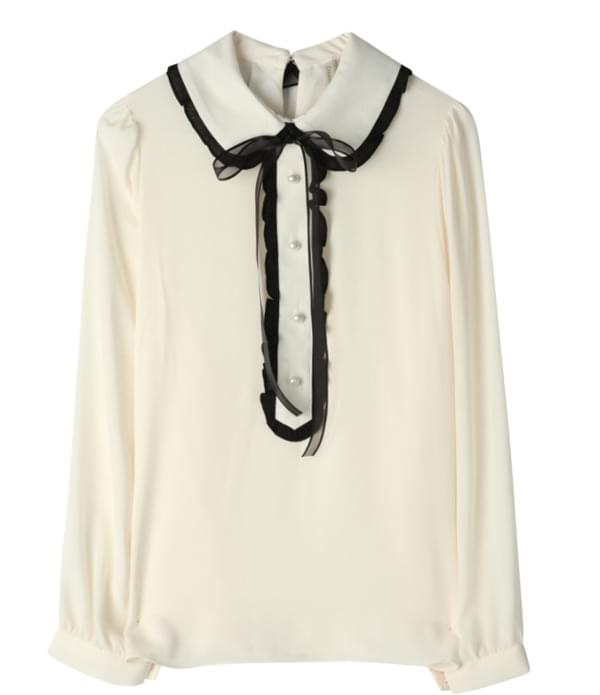 Creamy frills color blouse
