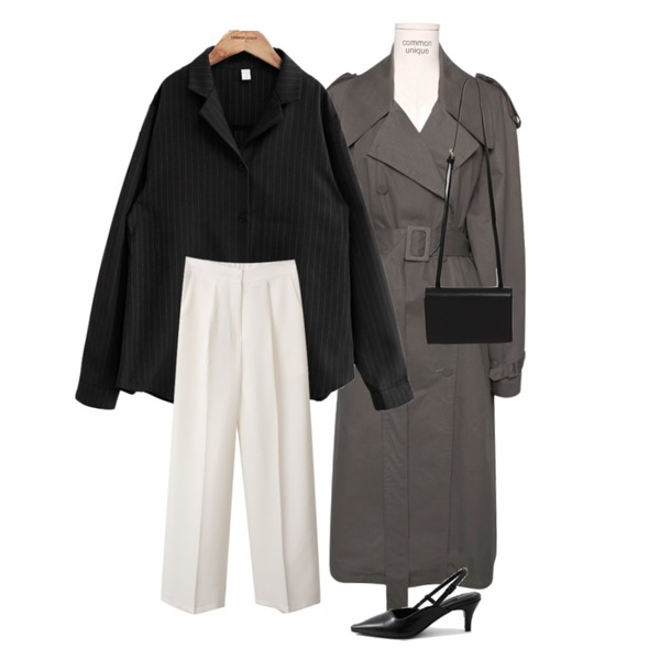 BACHO 감성 포멀 슬랙스,common unique BIG COLLAR OVER TRENCH COAT,common unique MODERN STRIPE SHIRTS 2 PIECE SET등을 매치한 코디
