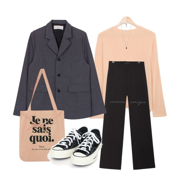 common unique ROUTINE WIDE LONG SLACKS,BULLANG GIRL 찰랑한라운드T,biznshoe Back button jacket (2color)등을 매치한 코디