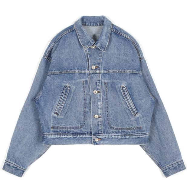 damage washed crop denim jacket - men