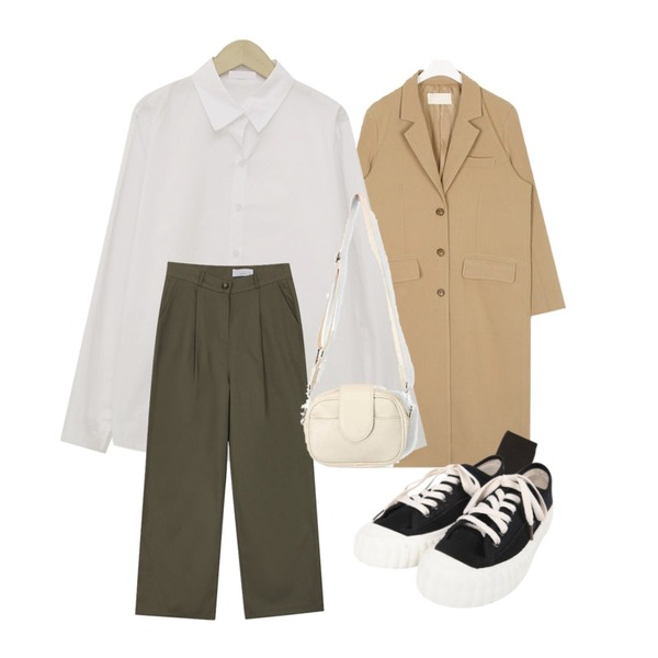 From Beginning Cereal basic cotton shirts_K (size : free),AIN some daily long jacket,biznshoe Pintuck straight pants (4colors) * 컬러추가등을 매치한 코디