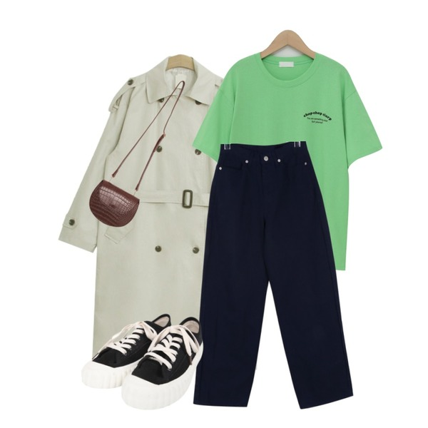 TODAY ME 마르 트렌치 코트,daily monday Dart point wide pants,From Beginning Double chop cotton T_Y (size : free)등을 매치한 코디