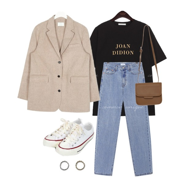 AIN taylor canvas sneakers (225-250),daily monday Clover thin ring,common unique JOAN LETTERING 1/2 T등을 매치한 코디