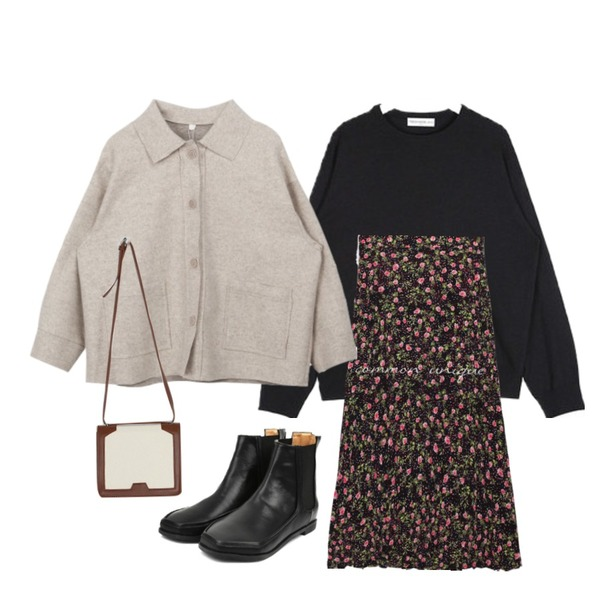 openthedoor hexagon chelsea boots (2 color),common unique [SKIRT] SELENA FLOWER CREASE LONG SKIRT,AIN FRESH A soft round knit등을 매치한 코디