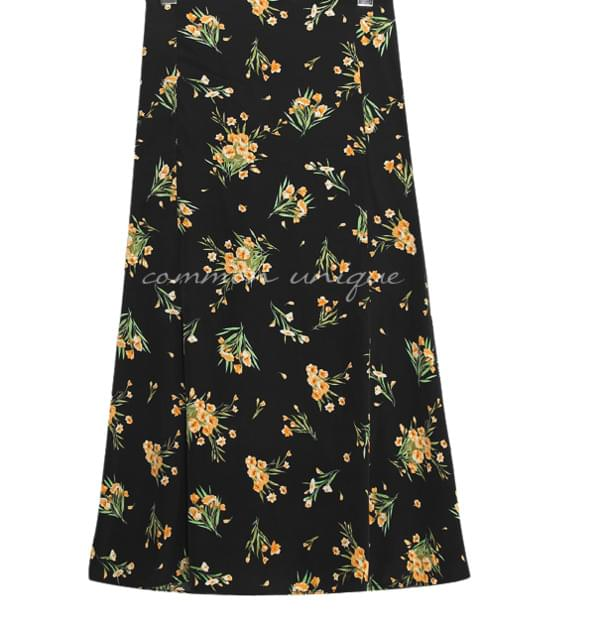 BARONY FLOWER FLARE LONG SKIRT