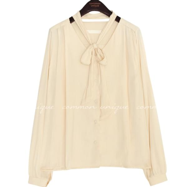 MORY SATIN WRAP BUTTON TIE BLOUSE