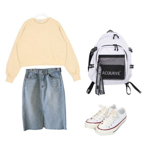 AIN taylor canvas sneakers (225-250),AIN FRESH A daily crop mtm,Reine 아이스 트임 스커트등을 매치한 코디