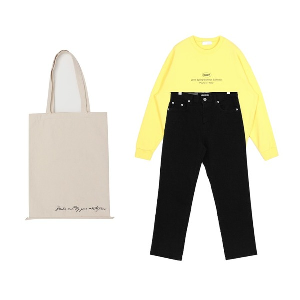 From Beginning Letter cotton canvas bag_Y (size : one),openthedoor Playing in Water MTM (3 color) - men,Zemma World Cheese Black Jean (ver.리틀보이핏)등을 매치한 코디