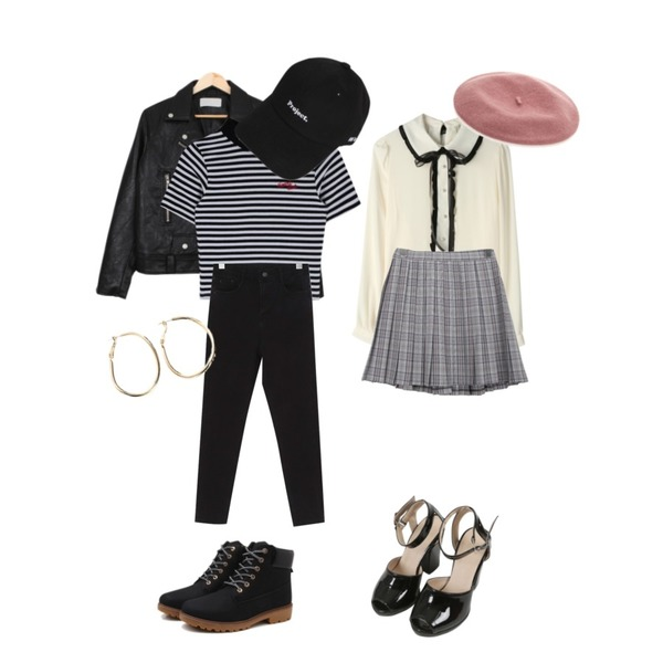 MIXXMIX Heart Stripe High Neck Top,From Beginning Stretch banding black jean_M (size : S,M,L),BULLANG GIRL 델리라이더JK등을 매치한 코디