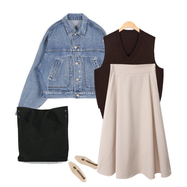 AIN side slit simple vest,BACHO 핀턱 플레어 밴딩 스커트,openthedoor damage washed crop denim jacket - men등을 매치한 코디
