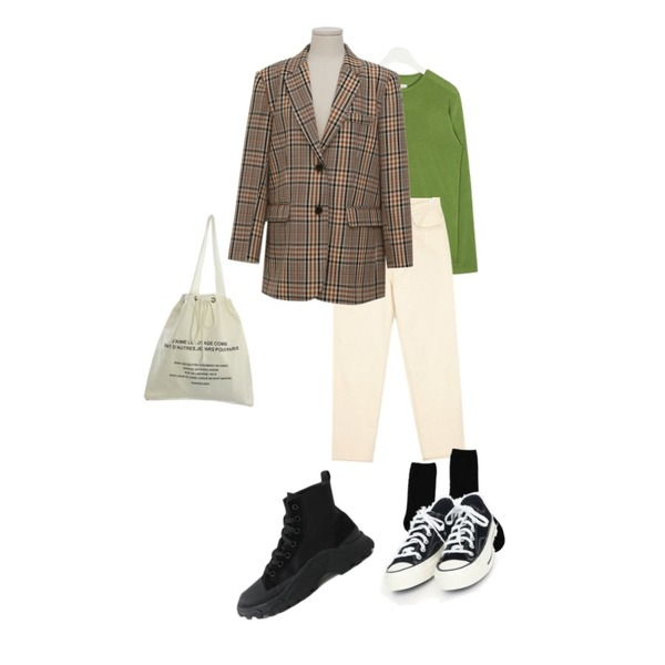 AIN finger round daily T,AIN more straight cotton pants (s, m, l),From Beginning Caramel boxy check jacket_S (size : free)등을 매치한 코디